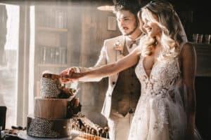 Anschnitt Hochzeitstorte boho Style